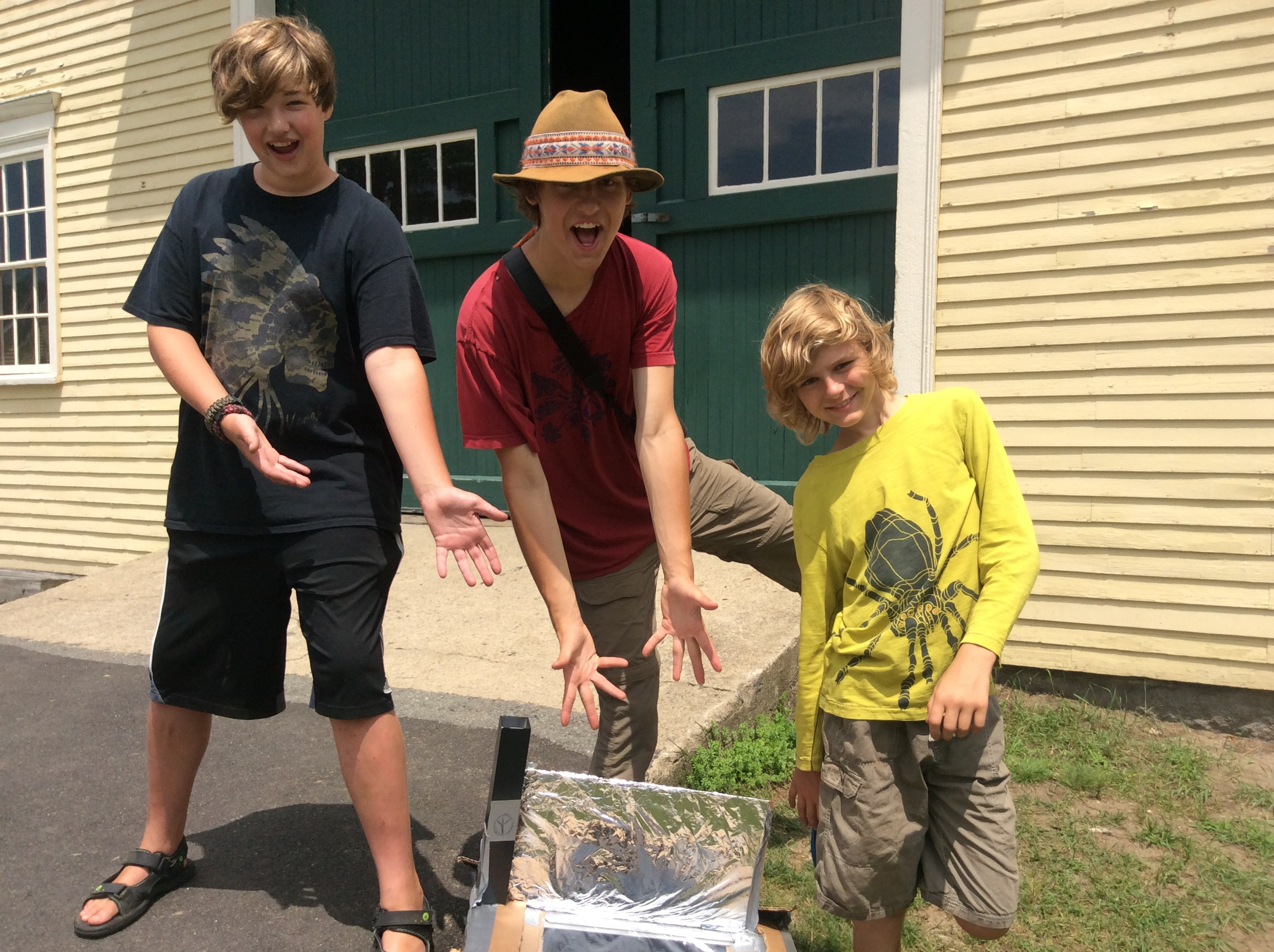 Campers with solar oven