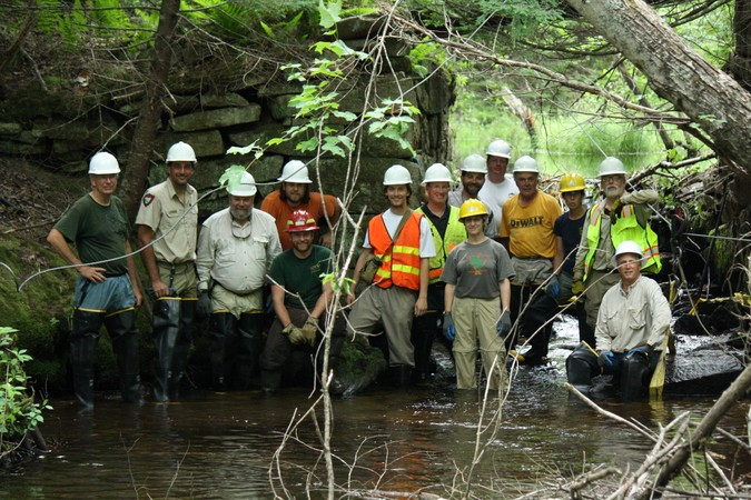 The work crew poses in Branch Brook.