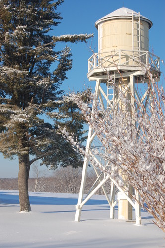 Water tower in winter