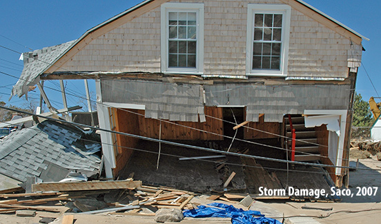 Storm-damaged house in Saco, Maine, April 2007