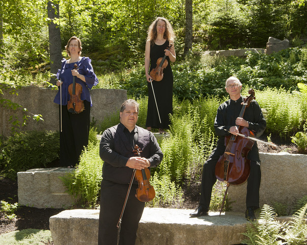 DaPonte String Quartet posing outdoors