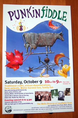 Poster for Punkinfiddle 2004 with weathervane art by Piper Castles