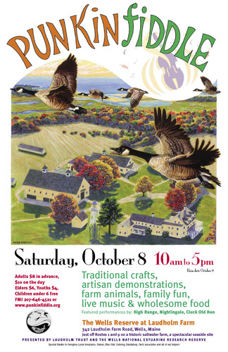 Poster for Punkinfiddle 2005 with flying geese art by Piper Castles