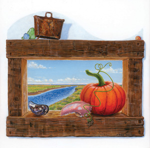 Art for Punkinfiddle 2006 with pumpkin and estuary art by Piper Castles
