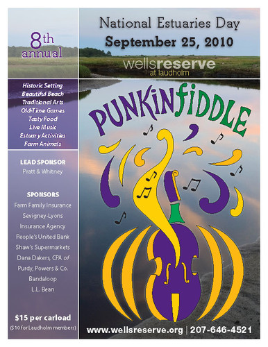 Flier for Punkinfiddle 2010 with logo and salt marsh photograph by Jeff Stevensen