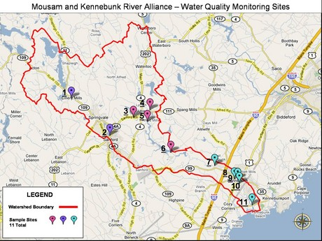 Water Quality Monitoring Sites on the Mousam and Kennebunk Rivers