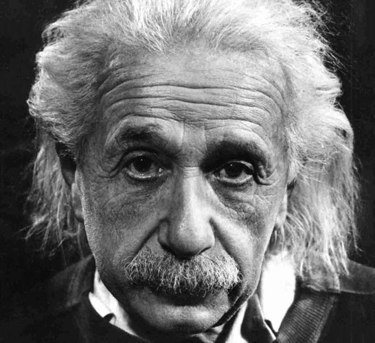 Sad-eyed Albert Einstein.