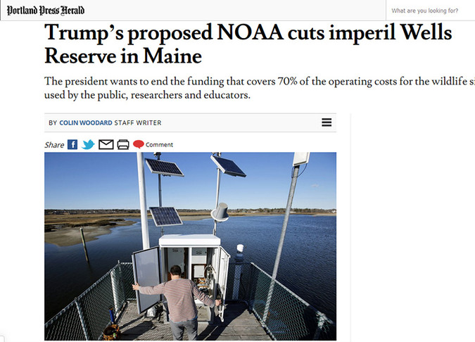 Screenshot of Portland Press Herald story by Colin Woodard on proposed cuts to the National Oceanic and Atmospheric Administration.