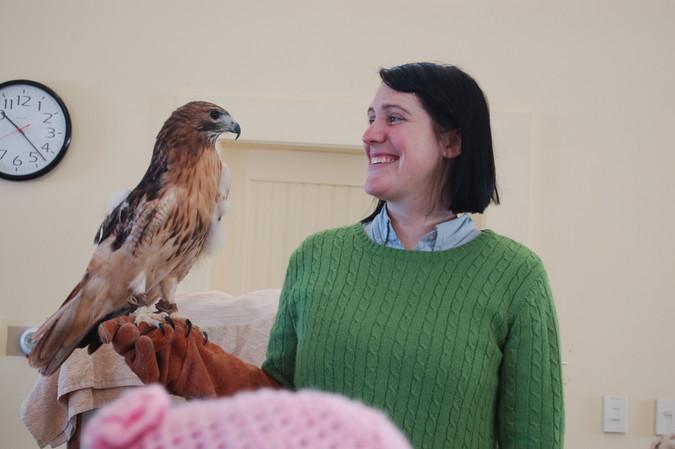 Kristin with hawk