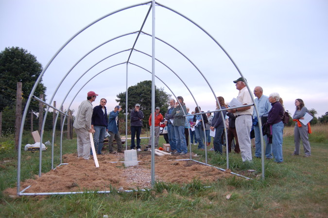 Hoop house under construction during York County Master Gardener workshop