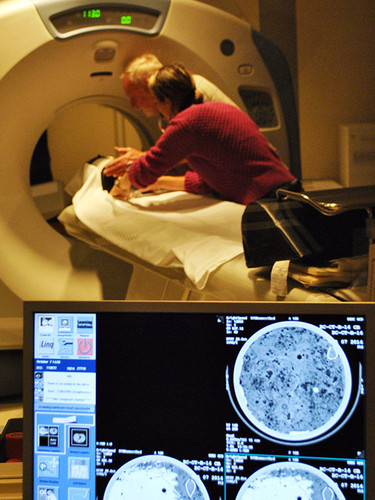 Ecologists use a CT scanner at Southern Maine Health Care to inspect a peat sample taken from a Maine salt marsh.