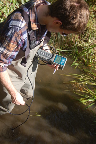 Collecting water quality data in Shoreys Brook