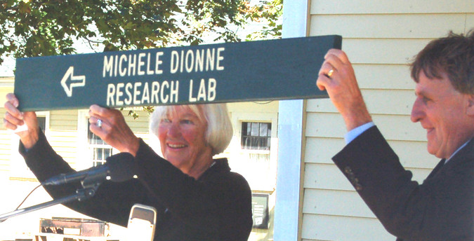 Cynthia Daley and Paul Dest dedicate the Michele Dionne Research Lab on September 23, 2012