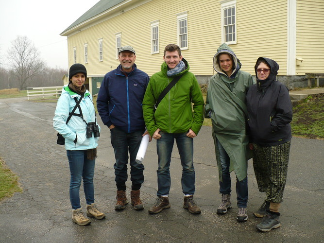 Purdue University ecological acoustics research team on a cool, damp, May day