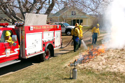 Truck at controlled burn, 17 April 2009
