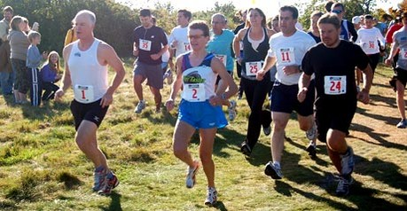Competitors begin the first Punkinfiddle 5K Road and Trail Run