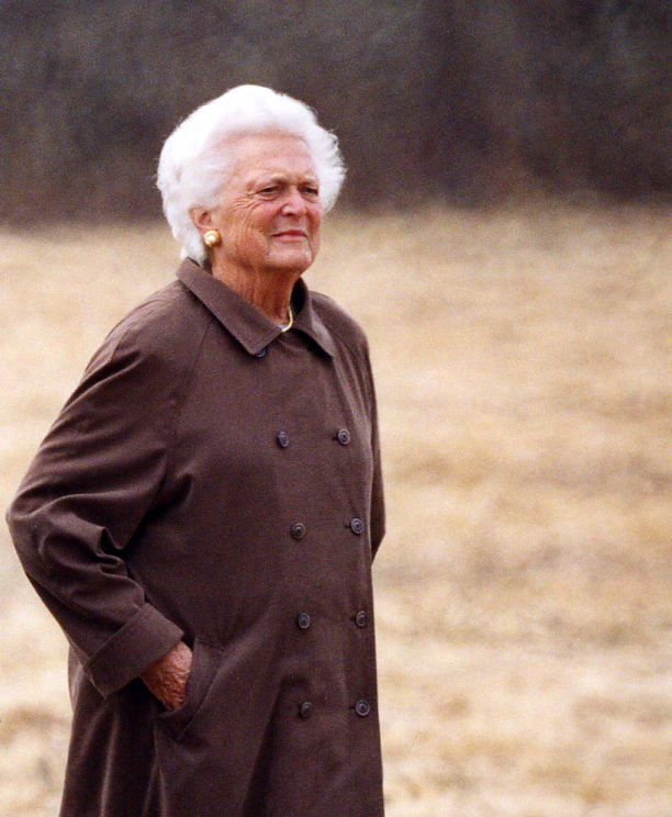 First Lady Barbara Bush walks at the Wells Reserve on Earth Day, April 22, 2004. Photo by Scott Richardson.