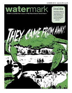 Cover of Watermark 31(1): Summer 2014 with scary green crab illustration