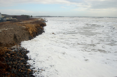 Erosion at Laudholm Beach caused by storm surge