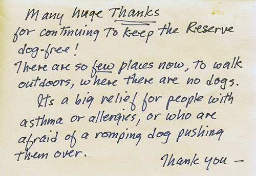 Handwritten note beginning 'Many huge thanks for continuing to keep the reserve dog-free!