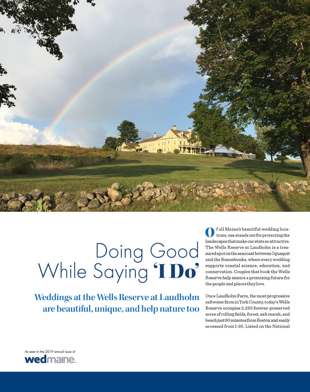 "First page of WedMaine spread ""Doing Good While Saying 'I Do'"""