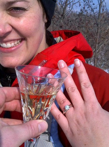 Beth shows off her new engagement ring.