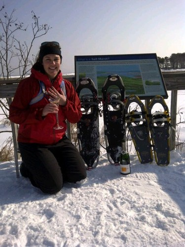 Beth, champagne, and snowshoes.