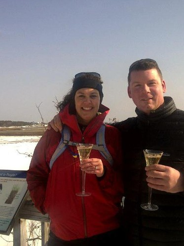 The future Beth Geary with John. A toast overlooking the salt marsh in January 2011.
